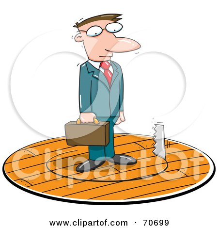 Royalty-Free (RF) Clipart Illustration of a Saw Cutting A Circle In The Floor Under A Businessman by jtoons