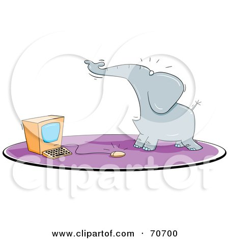 Scared Elephant By A Computer Mouse Posters, Art Prints