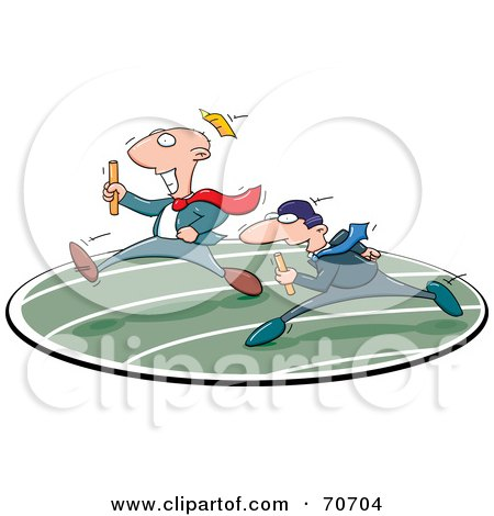 Royalty-Free (RF) Clipart Illustration of Two Business Men In A Relay Race by jtoons
