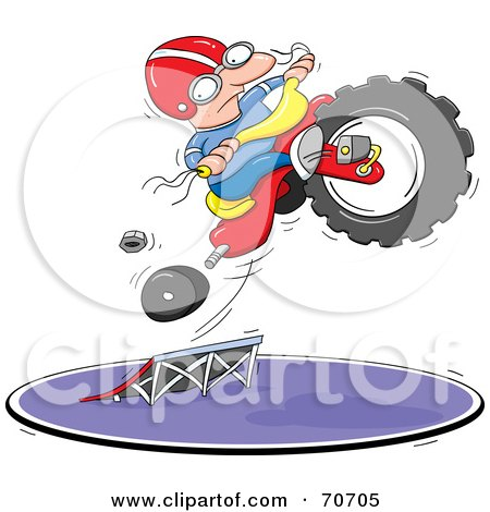 Royalty-Free (RF) Clipart Illustration of a Man Leaping His Tricycle As It Falls Apart by jtoons