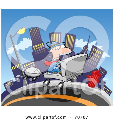 Royalty-Free (RF) Clipart Illustration of a Commuting Businessman Driving A Laptop Car Through A City by jtoons