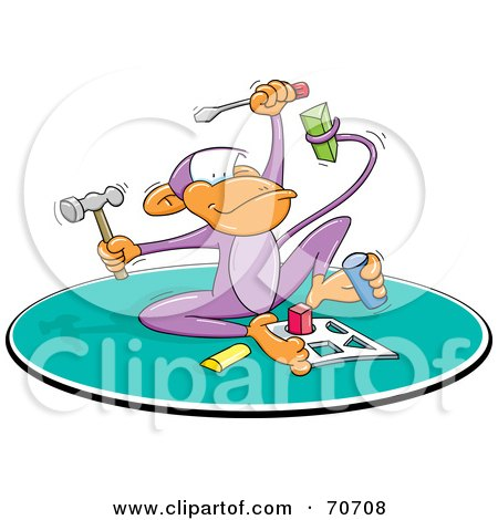 Royalty-Free (RF) Clipart Illustration of a Smart Monkey Holding Tools And Doing A Puzzle by jtoons