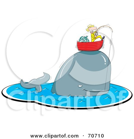 Royalty-Free (RF) Clipart Illustration of a Whale Caught On A Fishing Pole, Lifting Up A Man In His Boat by jtoons