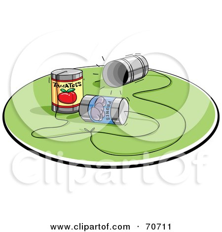 Royalty-Free (RF) Clipart Illustration of a Network Of Three Way Caling Cans by jtoons