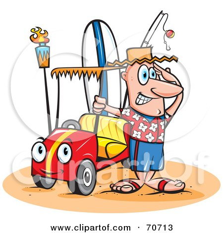 Royalty-Free (RF) Clipart Illustration of a Happy Guy With A Surf Board And A Fishing Pole In His Beach Buggy by jtoons