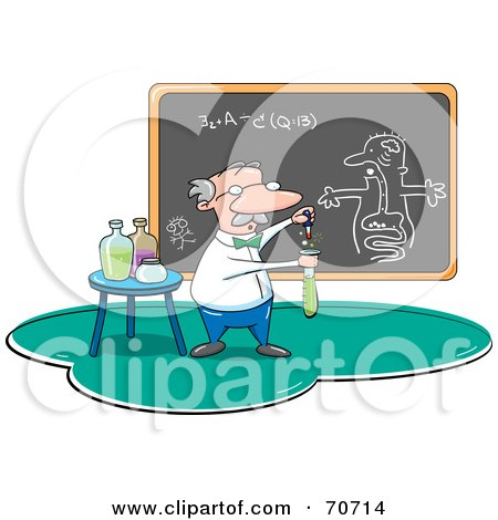 Royalty-Free (RF) Clipart Illustration of a Male Professor Mixing Chemicals In A Class by jtoons
