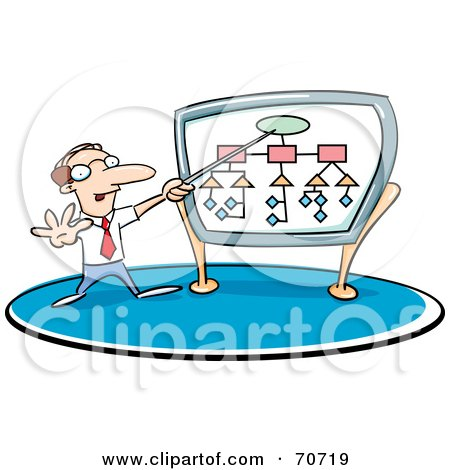 Royalty-Free (RF) Clipart Illustration of a Businessman Giving A Presentation And Pointing To A Diagram by jtoons