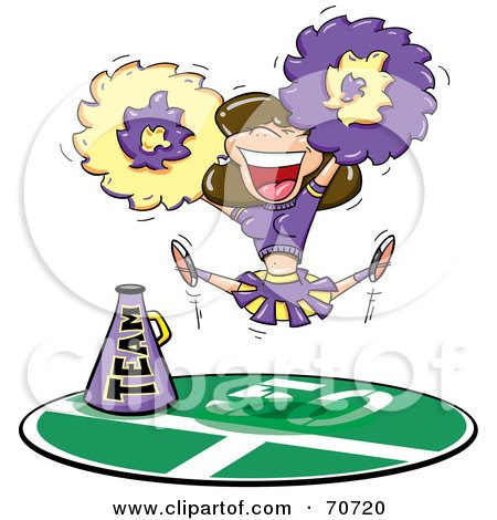 Royalty-Free (RF) Clipart Illustration of a Brunette Cheerleader In A Purple And Yellow Uniform, Leaping And Cheering by jtoons