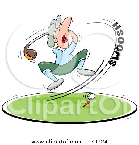 Royalty-Free (RF) Clipart Illustration of a Golfer Raised Off The Ground While Swinging Hard At A Golf Ball by jtoons
