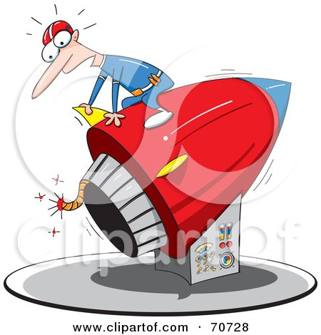 Royalty-Free (RF) Clipart Illustration of a Man Sitting On Top Of A Rocket With A Lit Fuse by jtoons