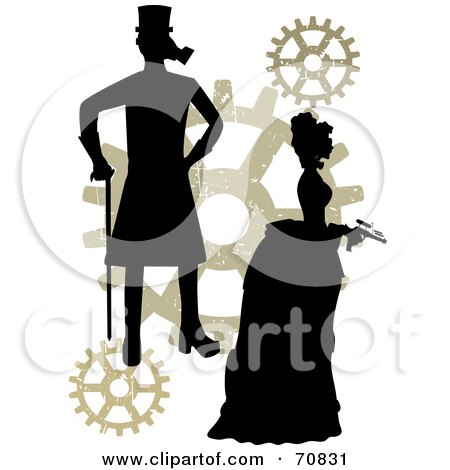 Royalty-Free (RF) Clipart Illustration of a Silhouetted Steampunk Couple With Gears, On White by mheld