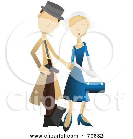 Royalty-Free (RF) Clipart Illustration of a Male Detective With A Woman by mheld