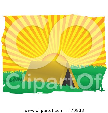 Royalty-Free (RF) Clipart Illustration of a Morning Sun Rising Behind A Tent by mheld