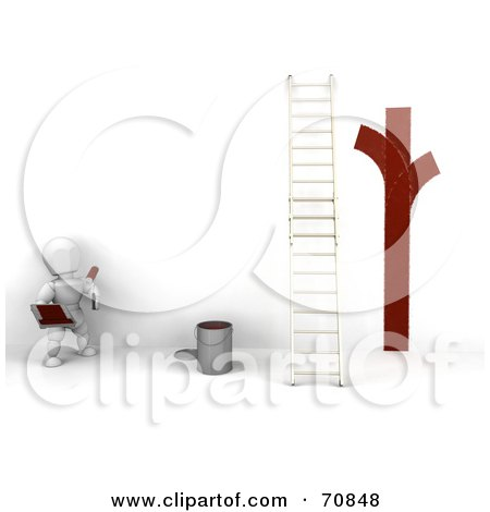 3d white character painter looking at red lines on a white wall by a