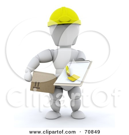 Royalty-Free (RF) Clipart Illustration of a 3d White Character Holding A Box And Clipboard by KJ Pargeter