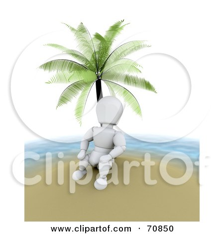 Royalty-Free (RF) Clipart Illustration of a 3d Alienated White Character Under A Palm Tree On An Island by KJ Pargeter