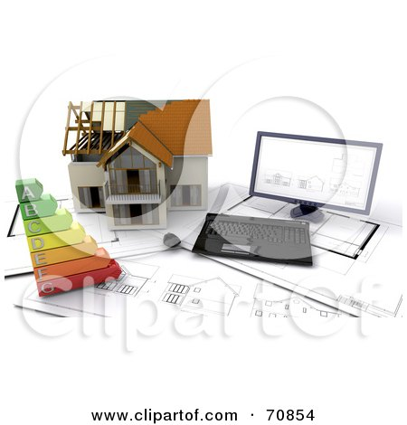 Royalty-Free (RF) Clipart Illustration of a 3d Computer On Blue Prints With An Energy Rating Graph And House by KJ Pargeter