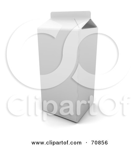 Royalty-Free (RF) Clipart Illustration of a 3d Blank White Milk Carton by KJ Pargeter