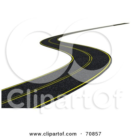 Royalty-Free (RF) Clipart Illustration of a 3d Curving Black Road With Yellow Lines by KJ Pargeter