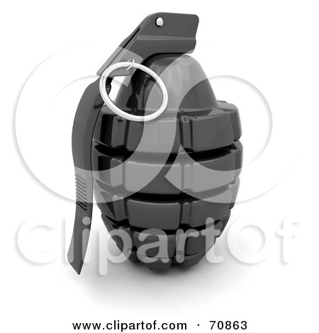 Royalty-Free (RF) Clipart Illustration of a 3d Shiny Black Hand Grenade by KJ Pargeter
