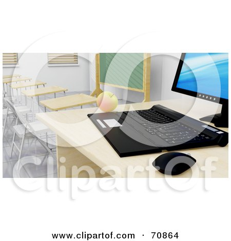 Royalty-Free (RF) Clipart Illustration of a 3d Desktop Computer And An Apple On A Desk In A Class Room by KJ Pargeter