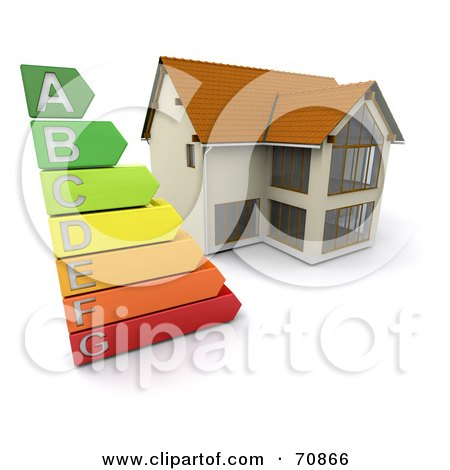 Royalty-Free (RF) Clipart Illustration of a 3d Home With An Energy Rating Graph by KJ Pargeter