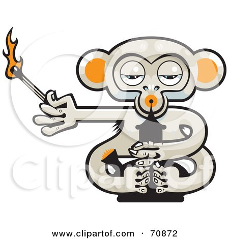 Royalty-Free (RF) Clipart Illustration of a Pot Monkey With A Lit Match And A Bong by Steve Klinkel