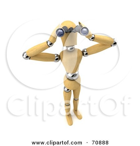 Royalty-Free (RF) Clipart Illustration of a 3d Wooden Mannequin Spying Through Binoculars - Version 2 by stockillustrations