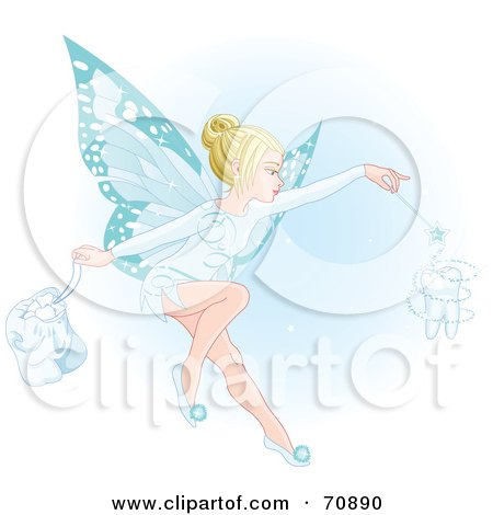Beautiful Blond Fairy With Blue Wings, Making A Magical Tooth Posters, Art Prints
