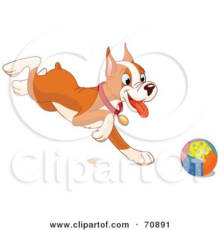 Royalty-Free (RF) Clipart Illustration of a Cute Boxer Puppy Running After A Ball by Pushkin
