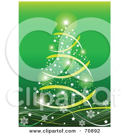 Royalty-Free (RF) Clipart Illustration of a Green Christmas Background With A Star Tree On Snowflake Waves by Pushkin