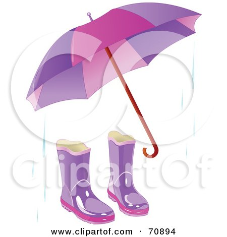 Purple Umbrella With A Pair Of Boots And Rain Posters, Art Prints