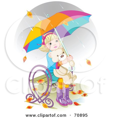 Royalty-Free (RF) Clipart Illustration of Autumn Leaves And Rain Falling Around A Little Girl Hugging Her Teddy Bear And Sitting On A Bench Under An Umbrella by Pushkin