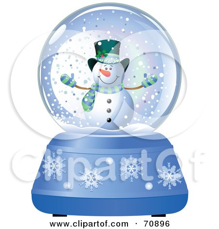 Royalty-Free (RF) Clipart Illustration of a Blue Christmas Snow Globe With A Snowman by Pushkin