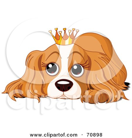 Royalty-Free (RF) Clipart Illustration of a Spoiled Cocker Spaniel Puppy Wearing A Crown by Pushkin
