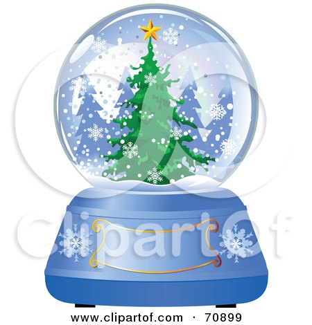 Royalty-Free (RF) Clipart Illustration of a Blue Christmas Snow Globe With A Tree And Text Box by Pushkin