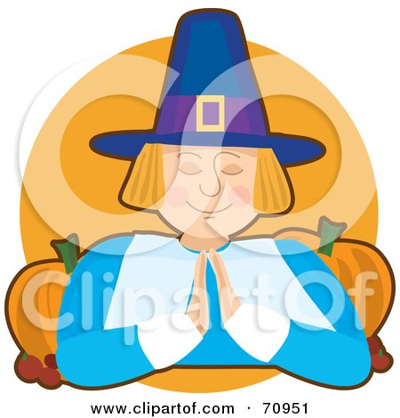 Royalty-Free (RF) Clipart Illustration of a Praying Pilgrim With Pumpkins Over An Orange Circle by Maria Bell