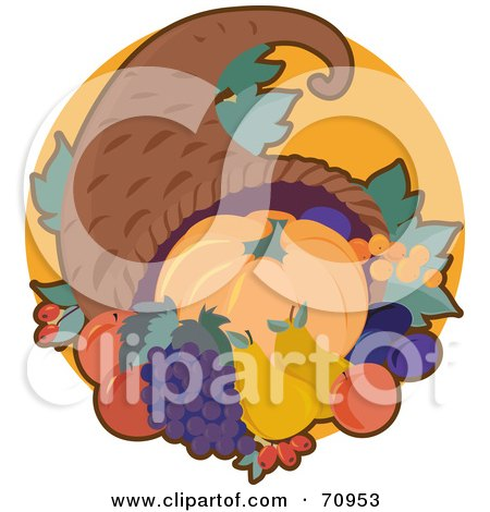 Royalty-Free (RF) Clipart Illustration of a Cornucopia With Autumn Fruits And Veggies by Maria Bell