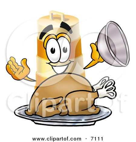 Clipart Picture of a Barrel Mascot Cartoon Character Serving a Thanksgiving Turkey on a Platter by Toons4Biz