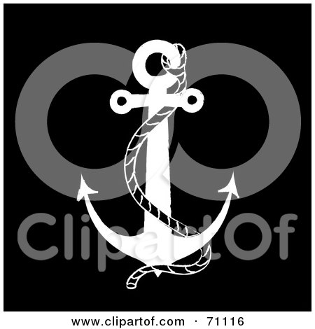 Royalty-Free (RF) Clipart Illustration of a Black And White Nautical Anchor With A Rope On Black by Pams Clipart