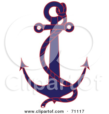Royalty-Free (RF) Clipart Illustration of a Blue And Red Nautical Anchor With A Rope by Pams Clipart