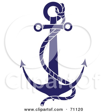 Royalty-Free (RF) Clipart Illustration of a Blue Nautical Anchor With A Rope by Pams Clipart