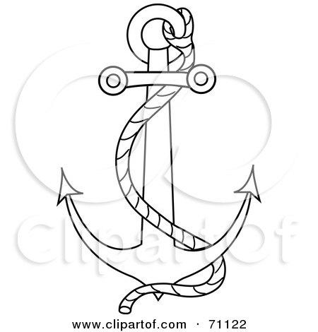 Royalty-Free (RF) Clipart Illustration of a Black Outline Of A Nautical Anchor With A Rope by Pams Clipart