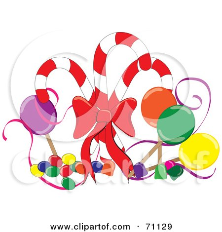 Royalty-Free (RF) Clipart Illustration of an Arrangement Of Suckers, Gum Drops And Jelly Beans With Christmas Candy Canes by Pams Clipart