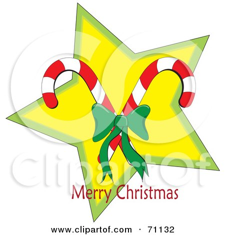 Royalty-Free (RF) Clipart Illustration of a Merry Christmas Greeting Of Candy Canes Over A Star by Pams Clipart
