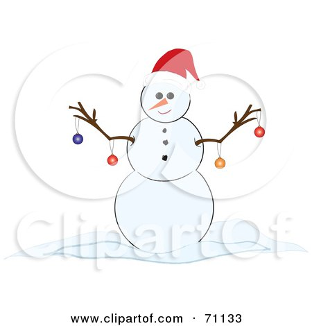 Royalty-Free (RF) Clipart Illustration of a Happy Snowman With Christmas Ornaments Hanging From His Twig Arms by Pams Clipart