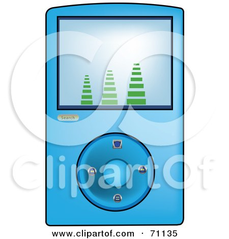 Royalty-Free (RF) Clipart Illustration of a Blue Digital Mp3 Music Player by Pams Clipart