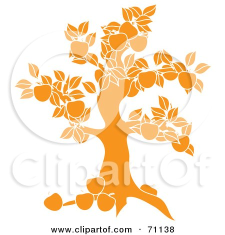 Royalty-Free (RF) Clipart Illustration of a Yellow Apple Tree Silhouette by Pams Clipart