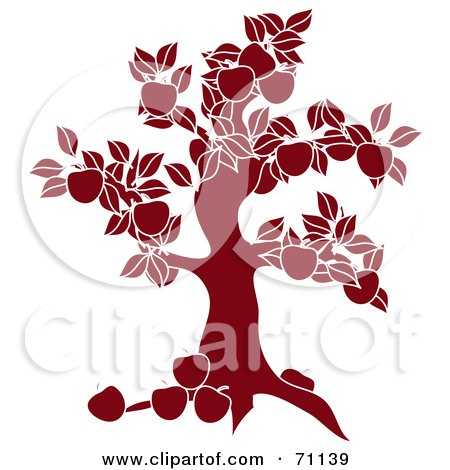 Royalty-Free (RF) Clipart Illustration of a Red Apple Tree Silhouette by Pams Clipart