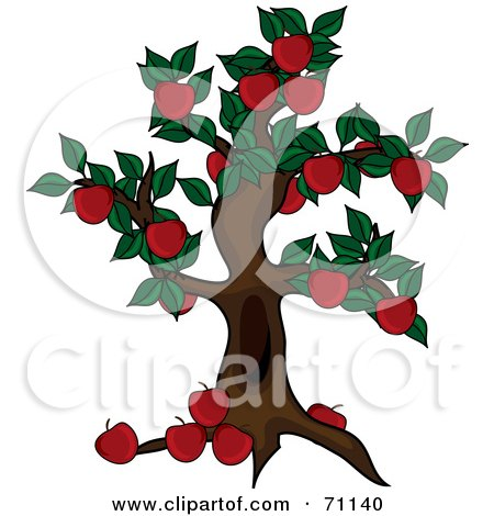 Royalty-Free (RF) Clipart Illustration of a Beautiful Apple Tree Abundant With Fruit by Pams Clipart